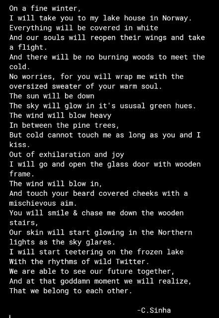 Poem of love.