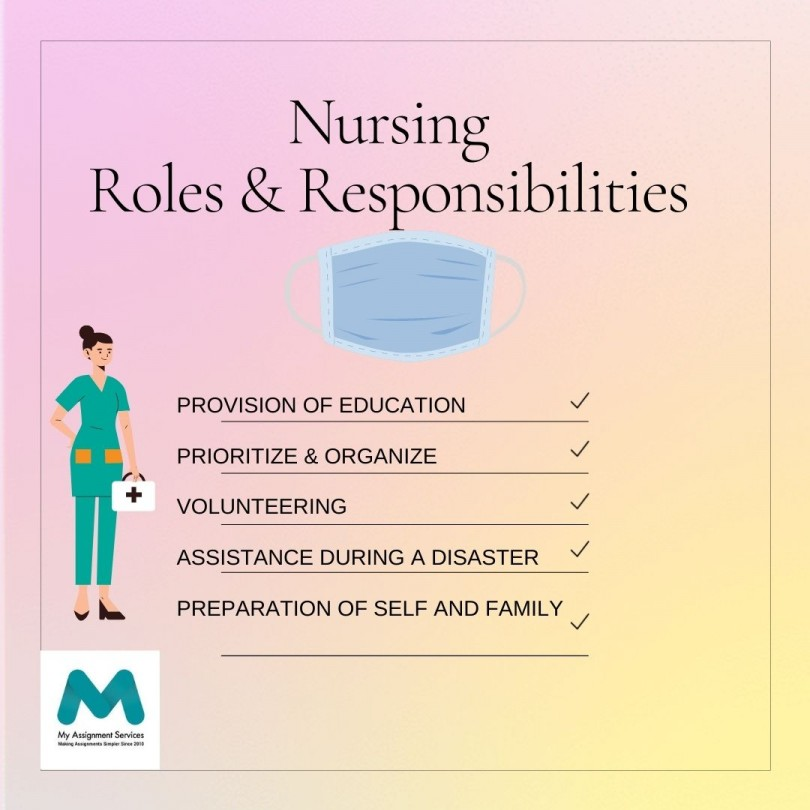 A nurse shows roles and responsibilities of nursing student